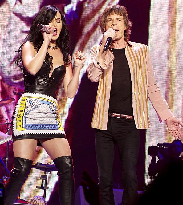 Mick Jagger és Katy Perry 2013-ban Las Vegasban, a Jagger 70. születésnapja alkalmából rendezett koncerten