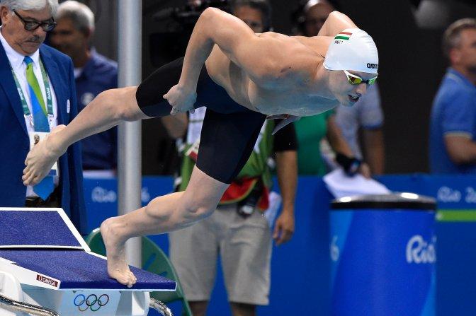 Rio de Janeiro, 2016. augusztus 8. Kozma Dominik rajtol a 2016-os riói nyári olimpia 200 méteres gyorsúszás versenyszámának elõdöntõjében a Rio de Janeiró-i Olimpiai Uszodában 2016. augusztus 7-én. Kozma Dominik futamában a hetedik helyen végzett és nem jutott be a döntõbe. MTI Fotó: Kovács Tamás