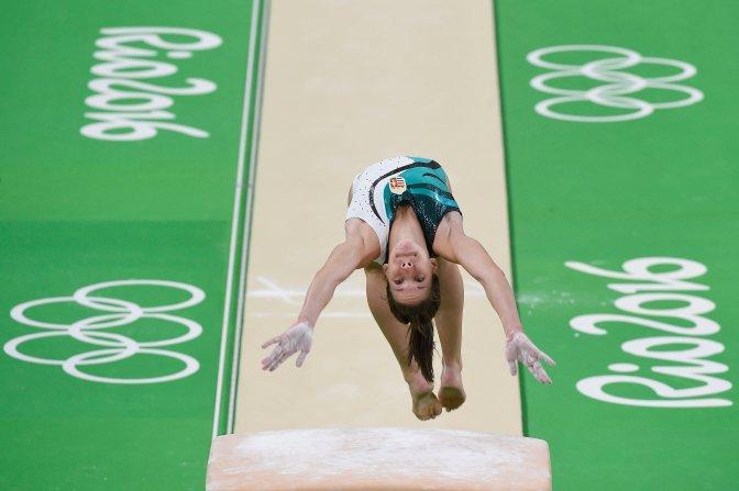 Rio de Janeiro, 2016. augusztus 4. Kovács Zsófia tornász edz a Riói Olimpiai Arénában 2016. augusztus 4-én, egy nappal a riói nyári olimpia kezdete elõtt. MTI Fotó: Kovács Tamás