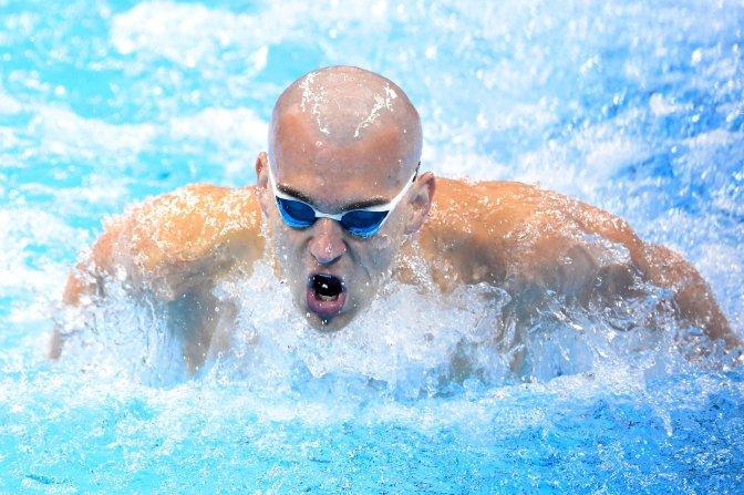 Rio de Janeiro, 2016. augusztus 9. Cseh László a férfi 200 méteres pillangóúszás elõdöntõjében a riói nyári olimpián a Rio de Janeiró-i Olimpiai Uszodában 2016. augusztus 8-án. Az úszó elsõként ért célba és bekerült a döntõbe. MTI Fotó: Kovács Tamás